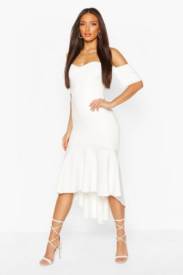 Ivory Tall Off The Shoulder Frill Maxi Dress