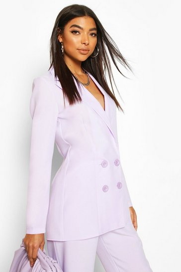 Lilac Tall Double Breasted Woven Blazer
