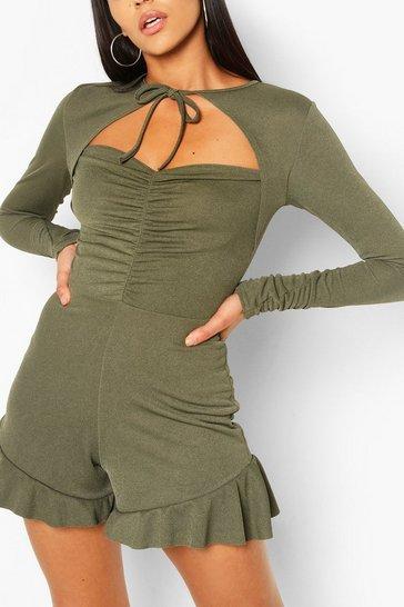 Olive Tall Mandarin Collar Ruffle Playsuit
