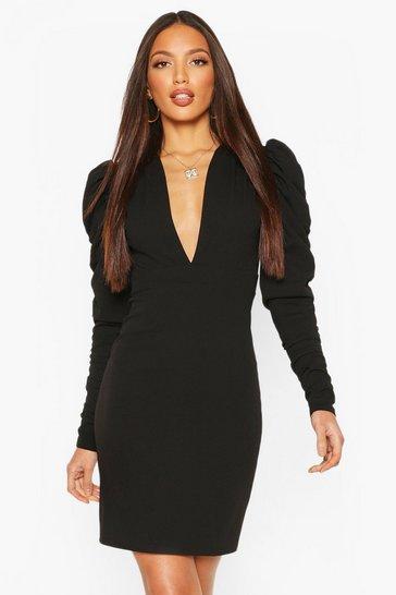 Black Tall Ruched Puff Sleeve Mini Dress