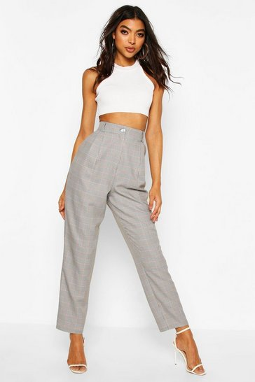 Grey Tall Check Woven Ankle Grazer Trousers