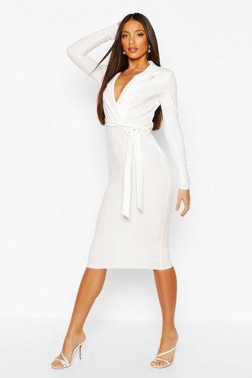 Ivory Tall Blazer Belted Midi Dress