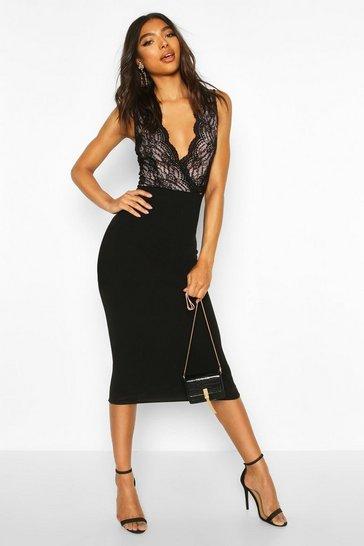 Black Tall Lace Midi Dress