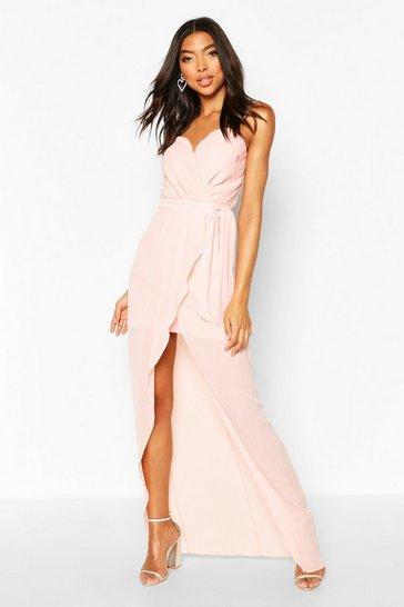 Nude Tall Bandeau Tie Waist Split Front Midi Dress