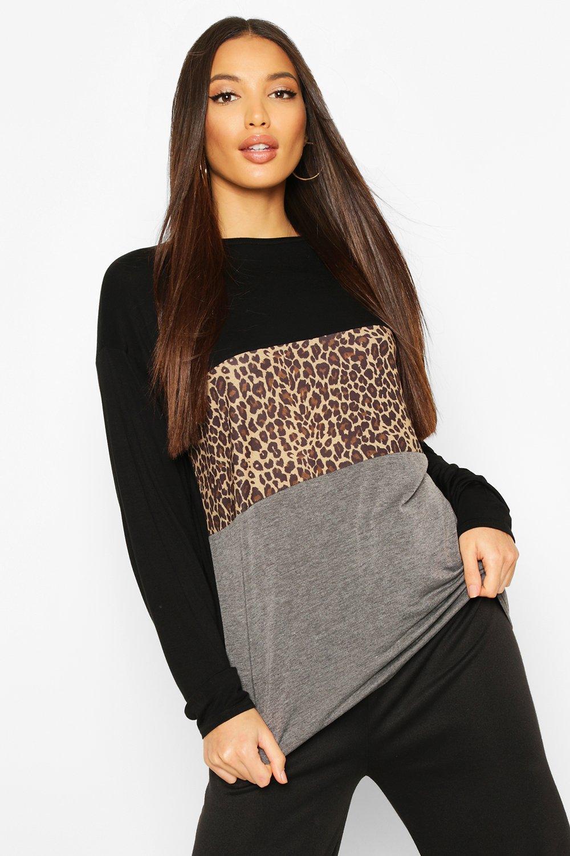 Womens Tall T-Shirt mit Leopardenmuster in Kontrastfarben - schwarz - 32, Schwarz - Boohoo.com