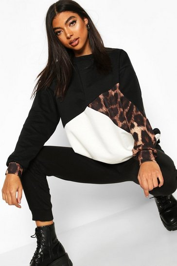 Black Tall Leopard Colour Block Sweat