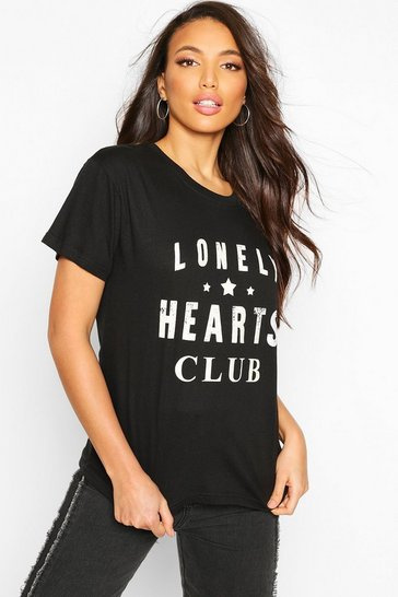 Black Tall 'Lonely Hearts Club' Slogan T-Shirt