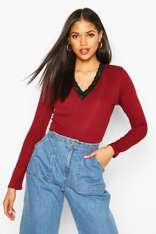 Womens Tall Lace Trim Rib Bodysuit - berry - 34, Berry - Boohoo.com