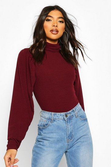 Berry Tall Soft Rib Roll Neck Puff Sleeve Bodysuit