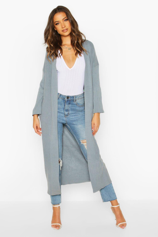 Womens Tall Premium Knit Maxi Cardigan - grey - One Size, Grey - Boohoo.com