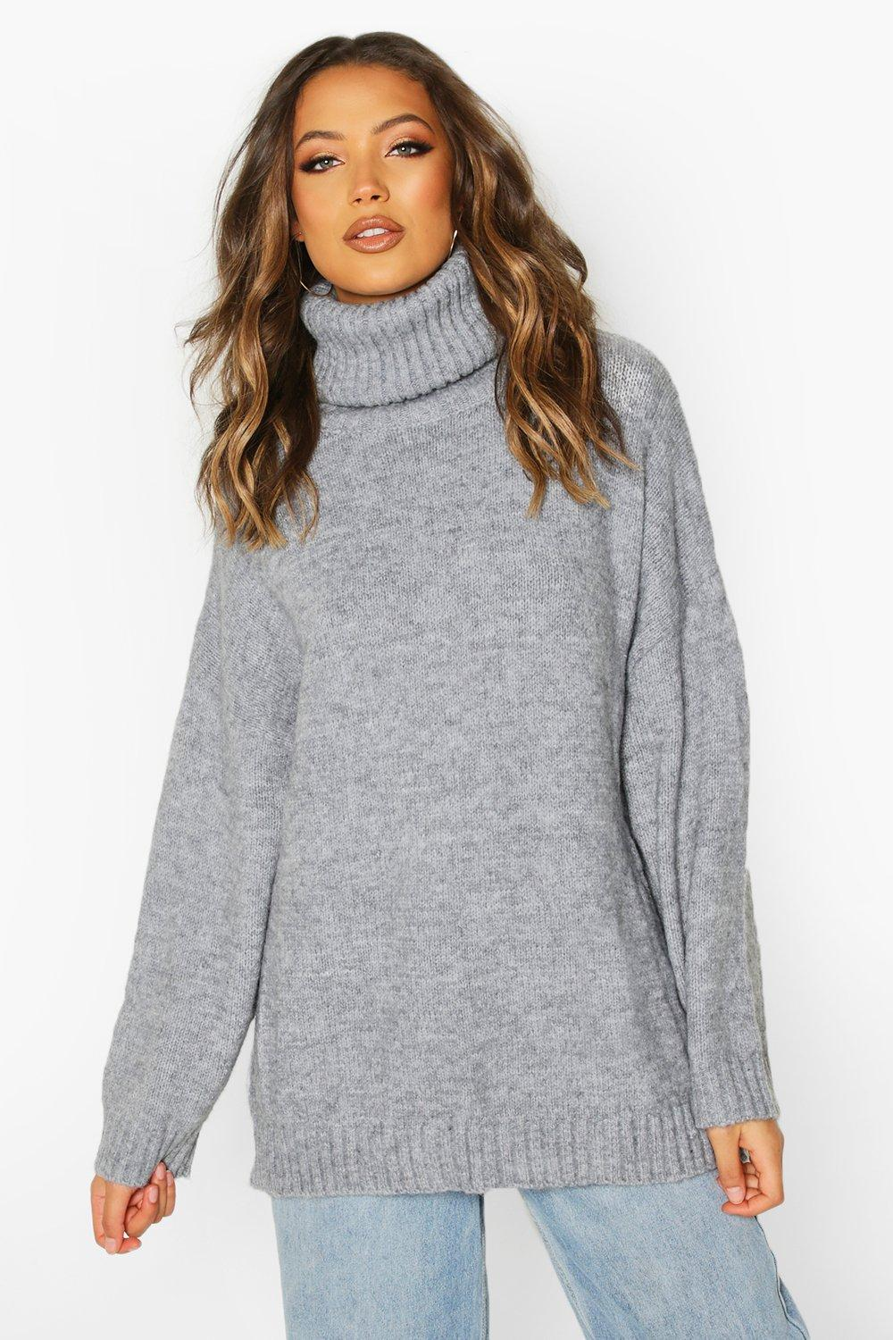Womens Tall Oversized Roll Neck Premium Jumper - Grey - One Size, Grey - Boohoo.com