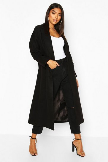 Black Tall Double Breasted Longline Wool Coat
