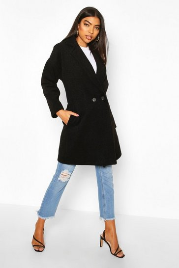 Black Tall Brushed Wool Effect Button Front Coat