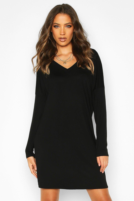 Womens Tall Plunge V-Back T-Shirt Dress - black - 34, Black - Boohoo.com