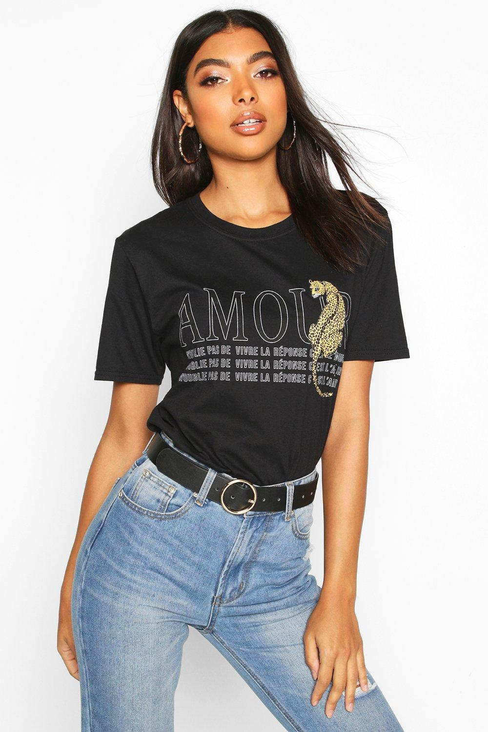 Womens Tall 'Amour' Slogan T-Shirt - black - S, Black - Boohoo.com
