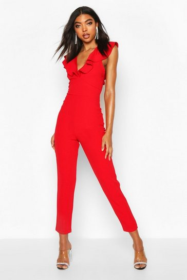 Red Tall Ruffle Plunge Jumpsuit