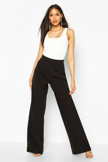 Black Tall Pleated High Waisted Wide Leg Trousers