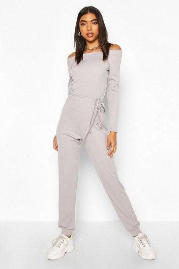 Grey Tall Rib Knit Off The Shoulder Jumpsuit