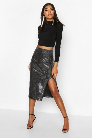 Silver Tall Sequin Thigh Split Midi Skirt