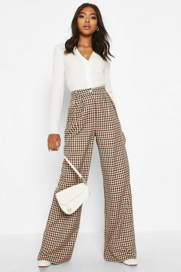 Brown Tall Wide Leg Check Trousers
