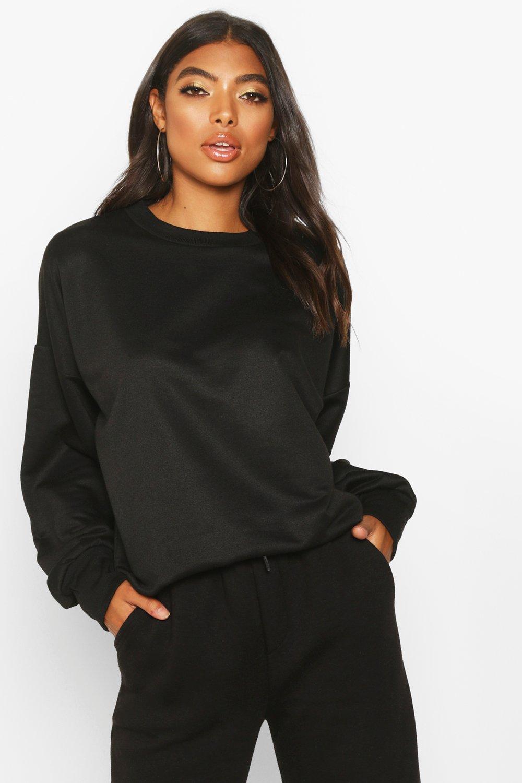 Womens Tall Sweatshirt mit Ballonärmeln - schwarz - 32, Schwarz - Boohoo.com