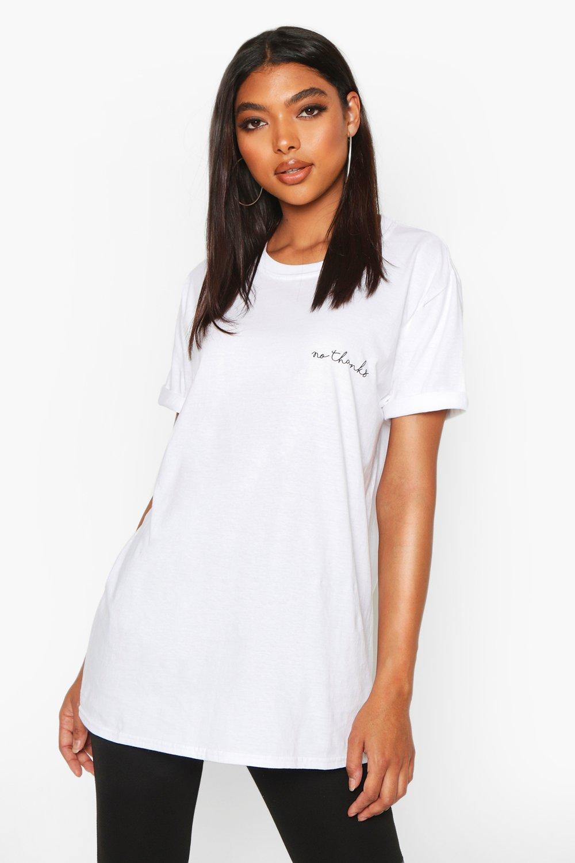 """Womens Tall T-Shirt mit """"No Thanks""""-Pocket-Print - Weiß - S, Weiß - Boohoo.com"""