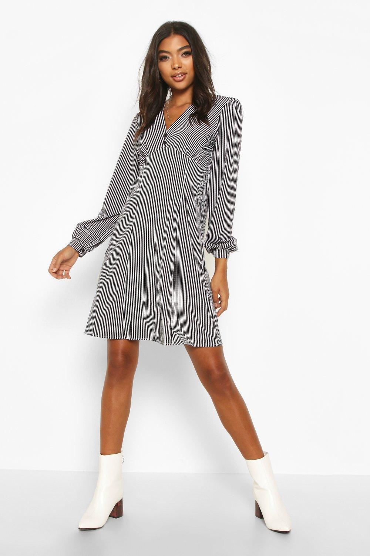 Womens Tall Durchgeknöpftes Blusenkleid mit Streifen - schwarz - 34, Schwarz - Boohoo.com
