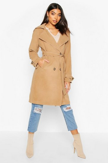Stone Tall Military Double Breasted Wool Look Coat