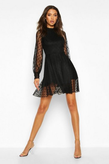 Black Tall Dobby Mesh Skater Dress