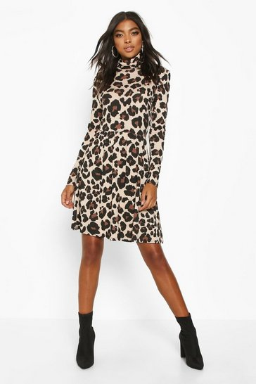 Tall Roll Neck Leopard Print Smock Dress