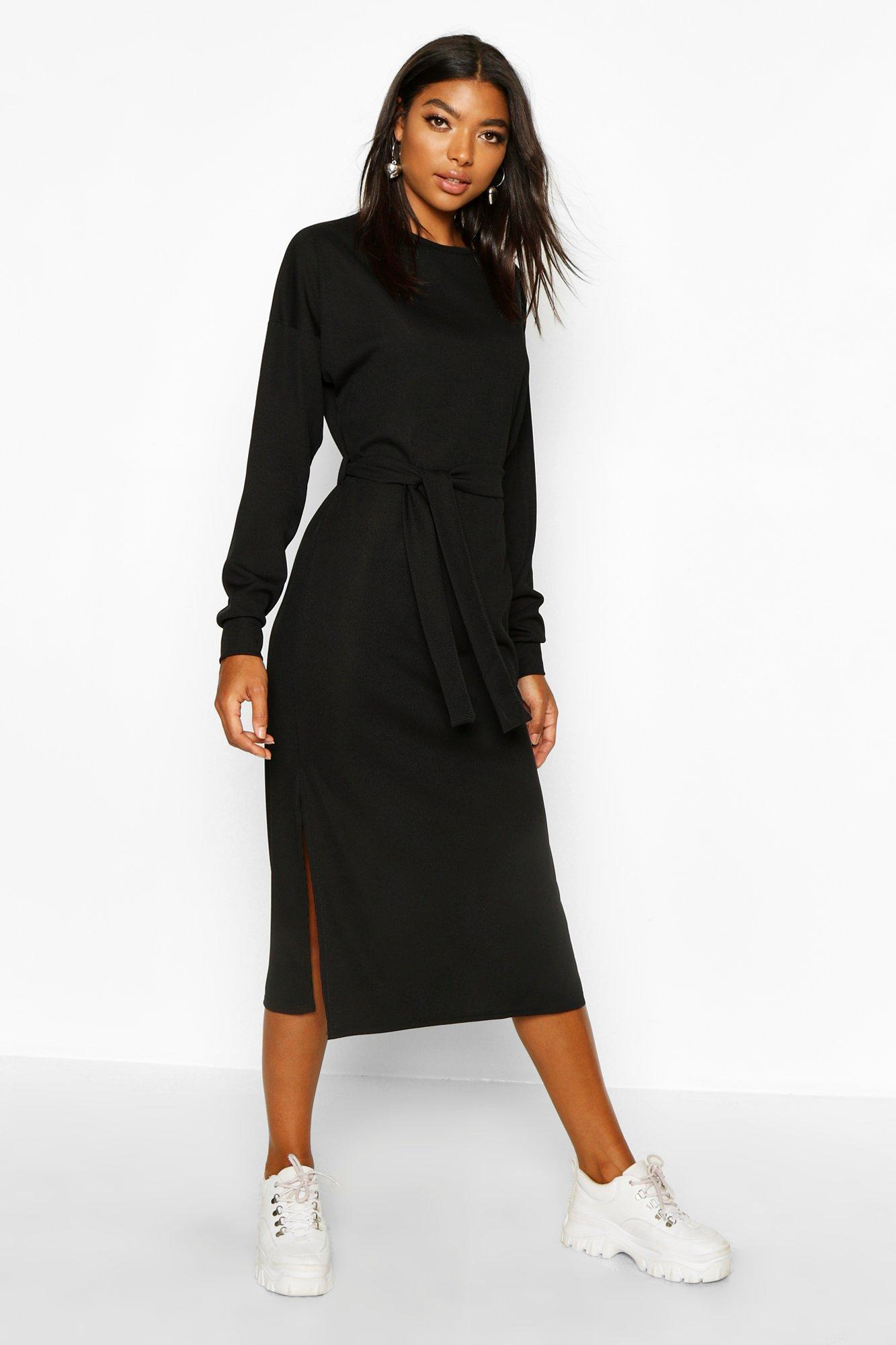 Womens Tall Rib Belted T-Shirt Dress - black - 32, Black - Boohoo.com