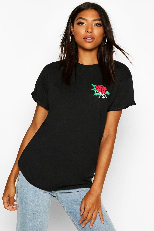 """Womens Tall T-Shirt mit """"L'Amour""""-Slogan und Tasche - schwarz - S, Schwarz - Boohoo.com"""