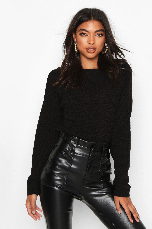 Womens Tall Kurzer Strickpullover mit geschlitztem Ausschnitt und Perlen - schwarz - S, Schwarz - Boohoo.com