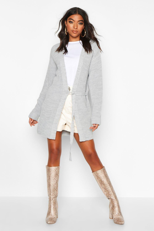Womens Tall Cardigan mit Schnürung - grau - S/M, Grau - Boohoo.com