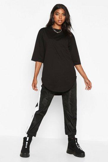 Black Tall Curve Hem Oversized T-Shirt