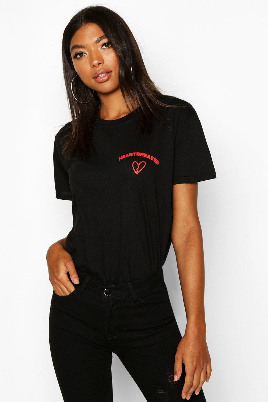 "Womens Tall T-Shirt mit ""Heartbreaker""-Slogan - schwarz - S, Schwarz - Boohoo.com"