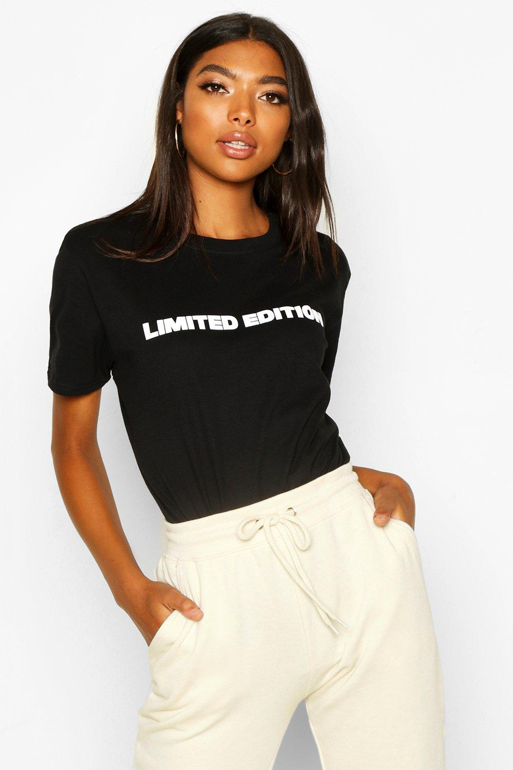 "Womens Tall T-Shirt mit ""Limited Edition""-Slogan - schwarz - S, Schwarz - Boohoo.com"