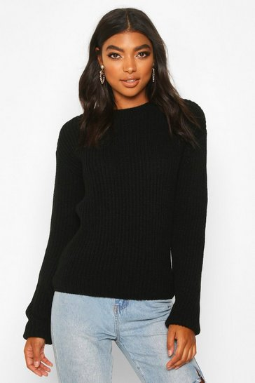 Black Tall Drop Shoulder Chunky Jumper