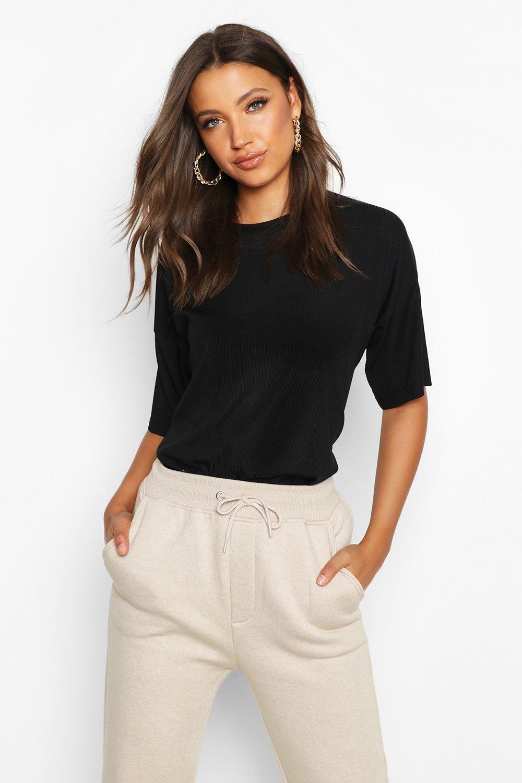 Womens Tall T-Shirt aus Ripp mit fallender Schulter - schwarz - 32, Schwarz - Boohoo.com