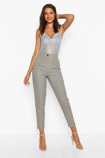 Brown Tall Check Tapered Trousers