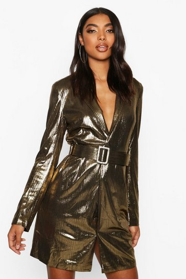 Gold Tall Metallic Belted Blazer Dress