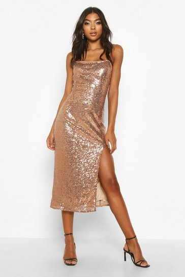 Rose gold Tall Thigh Split Sequin Midi Dress