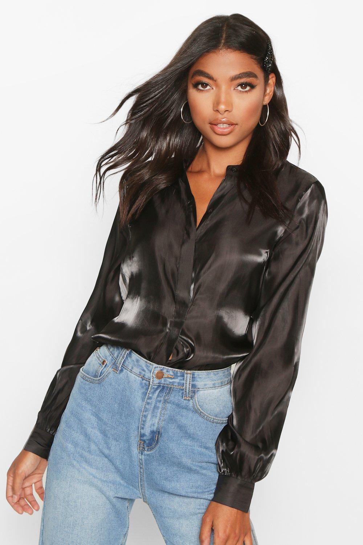 Womens Tall Metallic-Hemd aus Webstoff mit tiefem Armausschnitt - schwarz - 32, Schwarz - Boohoo.com