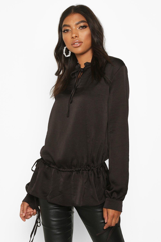 Womens Tall Bluse aus Webmaterial mit Schnürung - schwarz - 32, Schwarz - Boohoo.com