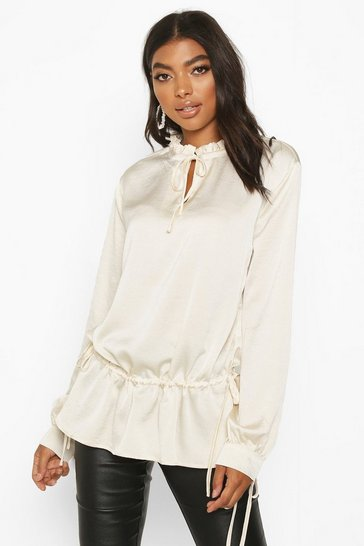 Ivory Tall Lace Up Woven Blouse