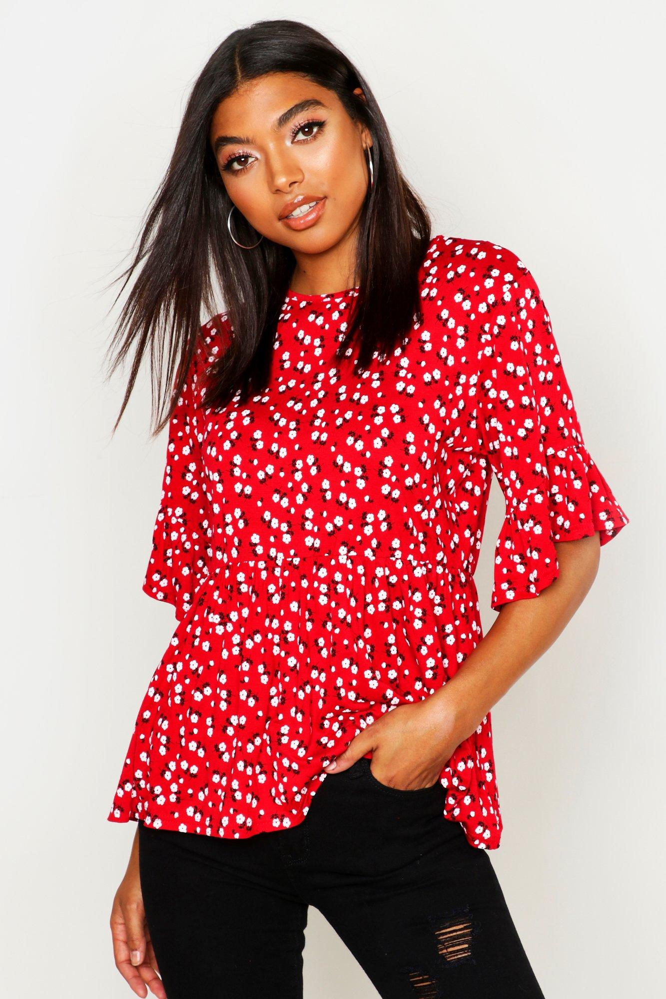 Womens Tall Bluse mit Blümchenmuster und 3/4 Arm - red - 32, Red - Boohoo.com