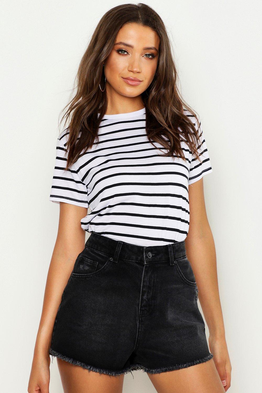 Womens Tall Streifen-T-Shirt aus Baumwolle in Kastenform - Weiß - 32, Weiß - Boohoo.com