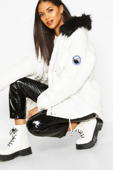White Tall Faux Fur Trim Synch Waist Puffer