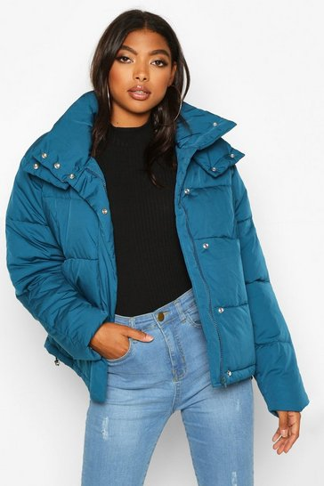 Petrol Tall Drawstring Waist Padded Crop Jacket