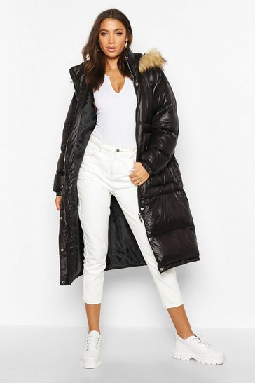Black Tall Longline Faux Fur Hood Padded Coat